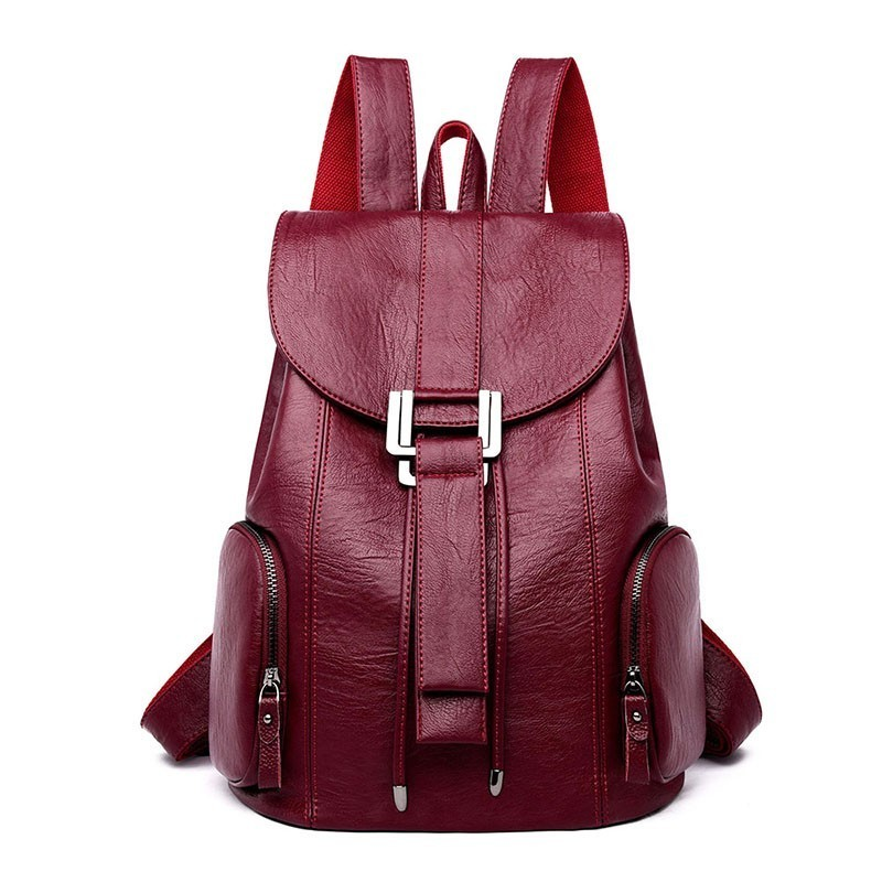 2019 Women Leather Backpacks High Quality Sac A Dos Schoolbag Casual Daypack Female Leather Vintage Backpack For Girls Back Pack