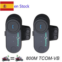 Motorcycle Helmet Intercom 2PCS 800M TCOM-VB Intercom Hi-Fi Motorcycle Intercom Interphone BT Interphone Bluetooth