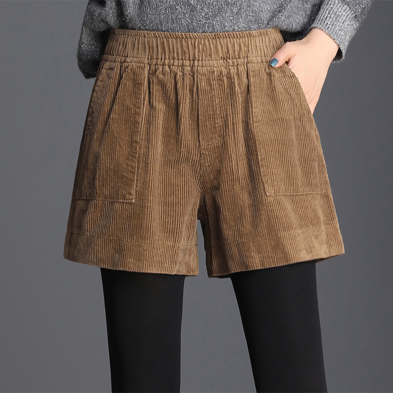 2019 Winter Fall Casual Womens Female Elastic High Waisted Wide Leg Black Brown Corduroy Shorts , Spring Woman 4xl Shorts