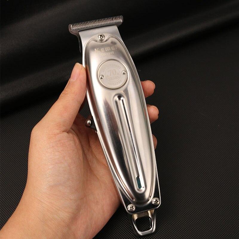 Kemei Hair Trimmer KM-1949 Rechargeable Hair Clipper Cordless Haircut Machine  Baldhead Metal Body