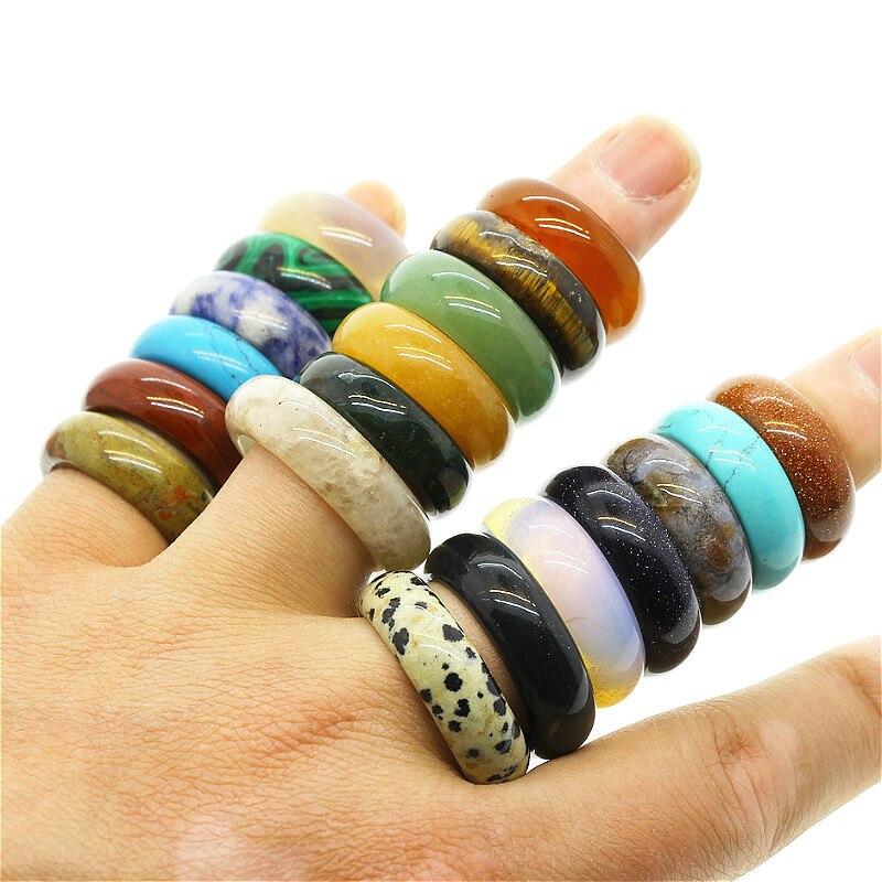 Anel de pedra natural jóias atraente anel unissex jóias ágata vários anéis de pedra preciosa dois modelos rosto largura 6mm 8mm