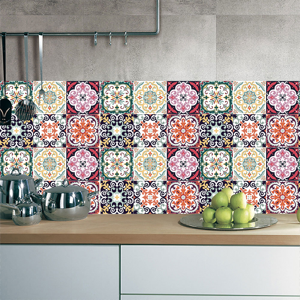 - Moroccan Colorful Tiles Wall Sticker Kitchen Bathroom Backsplash