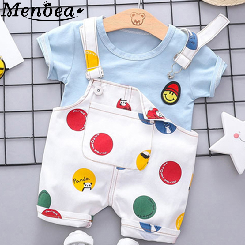 Menoea Newborn Baby Sets 2020 Clothes Cute Smile Face T-shirt Tops + Casual Cartoon Dots Bib Pants Boys Girls Suit