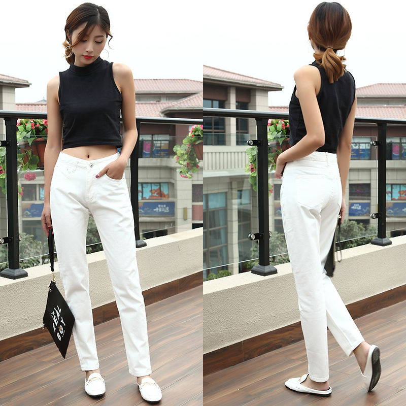 White Summer Women Jeans Cool Denim Jeans Pants Trousers Boyfriend Black Full Length Lady Jeans