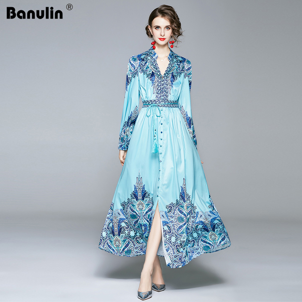 Banulin Runway Autumn Holiday Long Dress Women's V-Neck Long Sleeve Charming Floral Print Belt Maxi Dress Robe Longue Femme 2020