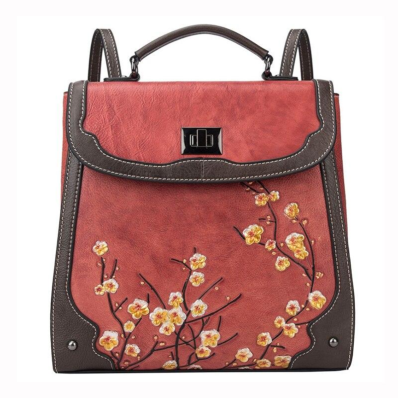 ^*Best Offers Женский рюкзак из натуральной кожи, сумка-мессенджер через плечо, школьный рюкзак с цветком сливы, женский ретро рюкзак из натуральной воло...