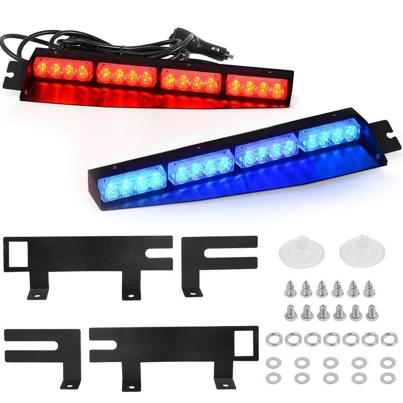(Blue & Red) 32LED Visor Lights 15 Flash Patterns Emergency Strobe Lights Windshield Split Mount Light Bar Law Enforcement Hazar