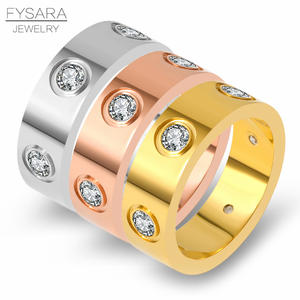 FYSARA Trendy Stainless Steel Rose Gold Color Love Ring for Women Men Couple CZ Crystal