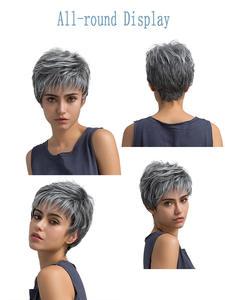 Hair-Wigs Short Grey Women Lace for White Synthetic Cosplay Wavy High-Temperature-Fiber