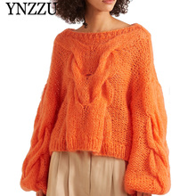 YNZZU 2019 New arrival Orange Oversize Women Sweater Autumn O-neck Lantern sleeve female Jumper Fashion Knit Pullover top  YT681