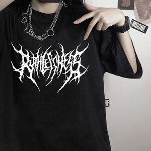 Women's t-shirts korean cotton Black Oversize dropshipping Hip Hop Tops harajuku vintage aesthetic gothic graphic punk clothes