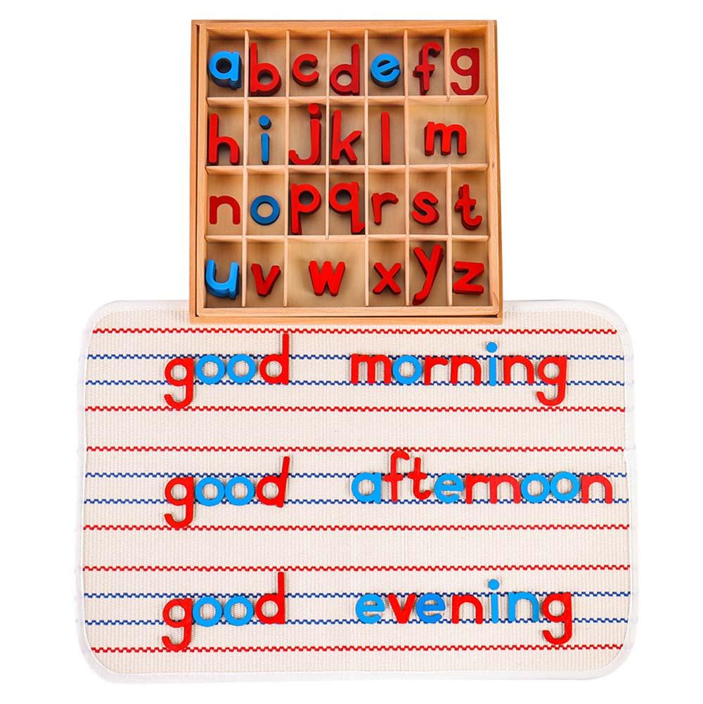 Деревянный подвижный алфавит Монтессори (красный и синий) с ковриком для маленьких подвижных алфавитов