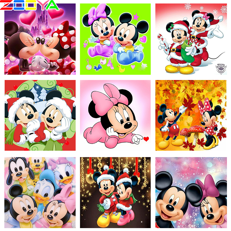 ZOOYA New 5d Diamond Painting Diy Diamond embroidery Cartoon Mickey couple kissing love Sale Mosaic Full Round drill by numbers(China)