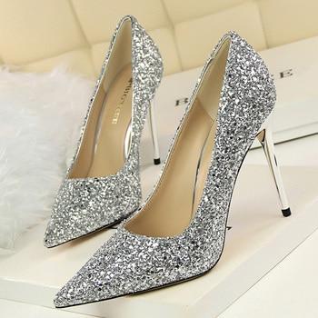 9.5cm High Heels Glitter Scarpins Pumps  2