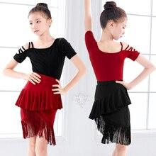 Ombro para fora dança latina franja vestidos feminino desempenho preto vermelho tango cha crianças vestido para meninas