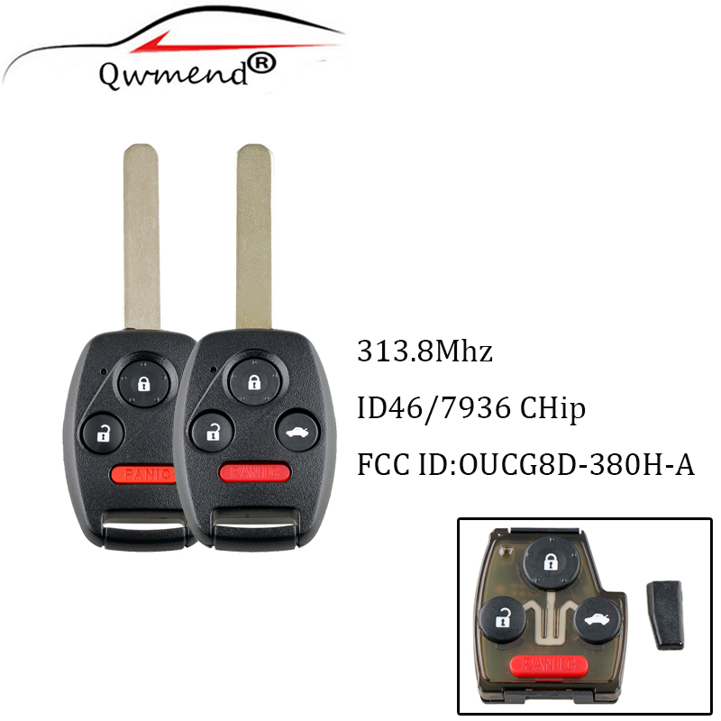 QWMEND Car <font><b>Keyless</b></font> Entry <font><b>Remote</b></font> Key 4 Buttons Fob 313.8Mhz With ID46 Chip OUCG8D-380H-A For <font><b>Honda</b></font> Accord 2003-2007 keys image