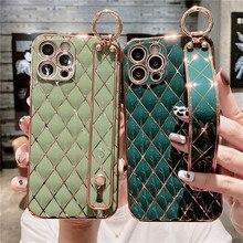 Galvani Lingge Handgelenk Strap Telefon Fall Für iPhone 12 11 Pro Max XR XS Max X 7 8 Plus 12 mini Kamera Schutz Stand Abdeckung