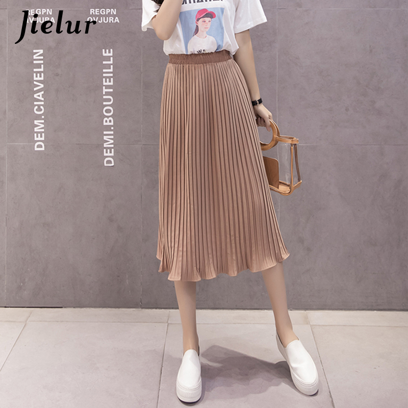 Jielur 6 Colors Korean Fashion Summer Skirt Female Chiffon High Waist Pleated Skirts Womens S-XL Harajuku Faldas Mujer Dropship