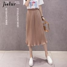 Jielur, 6 colores, moda coreana, falda de verano, Faldas plisadas de chifón de cintura alta para Mujer, S-XL, Harajuku, Faldas para Mujer