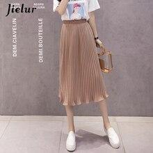 Jielur 6 renk kore moda yaz etek kadın şifon yüksek bel pilili etekler bayan S XL Harajuku Faldas Mujer