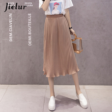 Jielur 6 צבעים קוריאני אופנה קיץ חצאית נשי שיפון גבוהה מותן קפלים חצאיות נשים S XL Harajuku Faldas Mujer