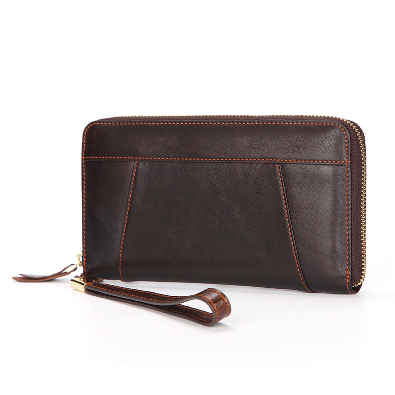 Genuine Leather Men's Purses Brand Designer Men Clutch Wallet Long Retro Oil Wax Leather Money Bag Male Card Holder Coin Wallet