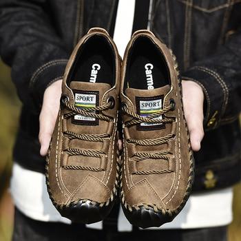 Весенняя Мужская обувь из натуральной кожи; Мужская повседневная Уличная обувь на шнуровке; Мужская нескользящая обувь на толстой подошве; ...