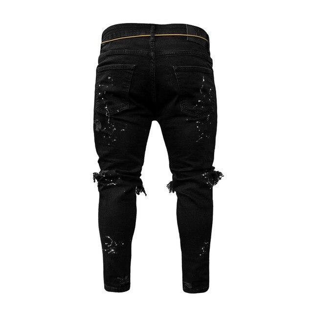 Pantalones vaqueros elásticos para hombre, Jeans ajustados con cremallera en el tobillo, diseño de punto de pintura rota 3