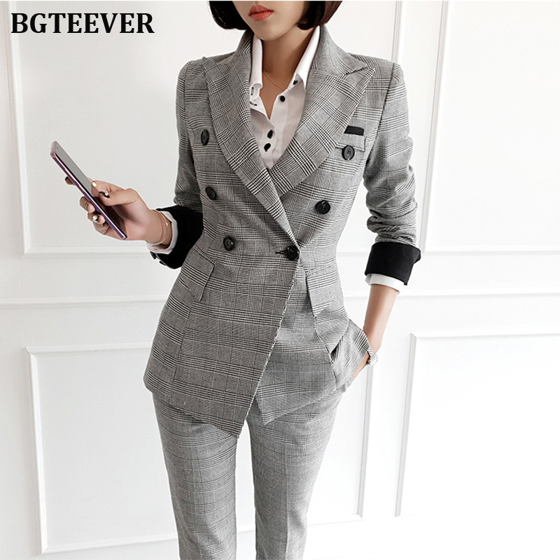 Vintage Plaid Double-breasted Women Blazer Suit Set Slim Women Pant Suits Female Workwear Trouser Suit 2019 Autumn