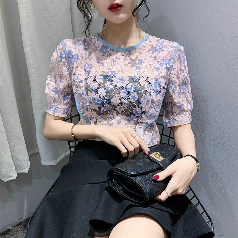 Summer Sexy See-through Lace Blouses Shirts Women Elegant Floral Embroidery Puff Sleeve Shirts Tops Female Fashion O Neck Blouse