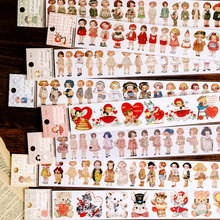 Doll Collection Cabinet Series Retro Characters Washi Masking Tape Stickers Scrapbooking Stationery Decorative Long Strip Tape