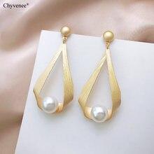 Chyvenee 2020 золотые корейские модные жемчужные серьги для