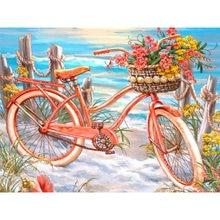 Алмазная живопись полный квадратный комплект пляжный велосипед