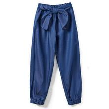 CupofSweet 5-14T Bow-knot Denim Children Jogger Pants Autumn Girls Harem Kid Joggers Teenager Trousers Baby Clothing