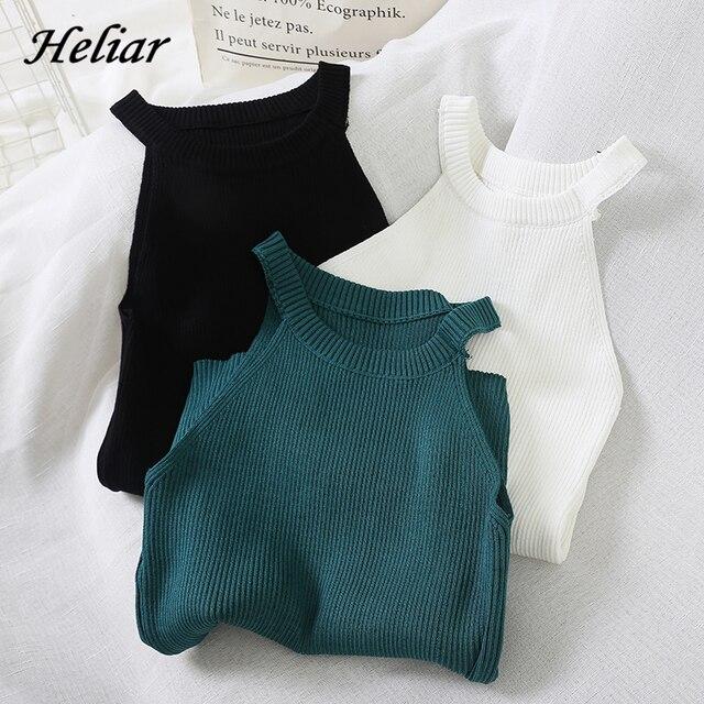 HELIAR Women Crop Tops Black Knitted Off Shoulder Summer Tops Female O-Neck Streetwear Tee Elastic Solid Crop Tops For Women 1