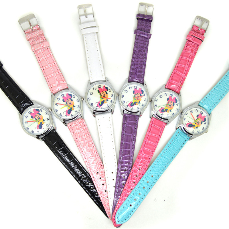 Disney Mickey Mouse Cartoon Quartz Wristwatch Children's Gift Girl Wristwatch Mickey Women Kids Watches Girls 3Bar Buckle  Alloy