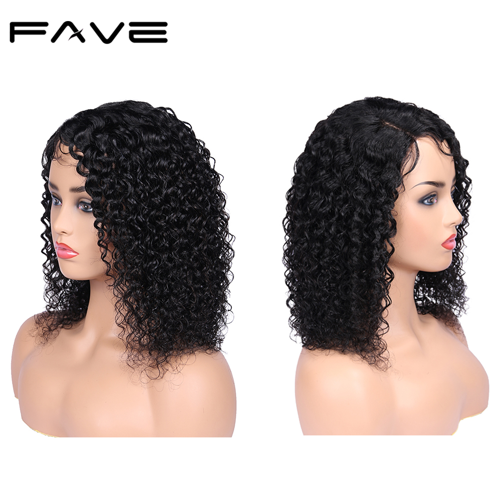 2*4 Lace Side Part Curly Hair Wigs Brazilian Human Remy Hair Wig 150% For Women Natural Black Color Free Shipping FAVE Hair