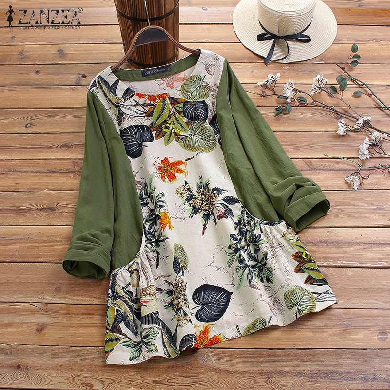 ZANZEA 2020 Spring Women Vintage Floral Printed Blouse Casual Long Sleeve Pacthwork Top Shirt Female Retro Cotton Linen Blusas
