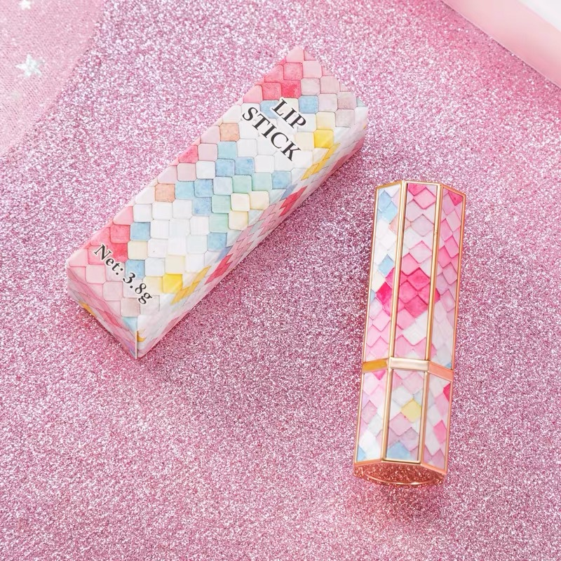 3D Mermaid Scale Octagon Lipstick Tube 12.1mm Diy Lip Balm Tubes Lip Stick Beauty Lipstick Balm Containers Empty Cosmetic Makeup