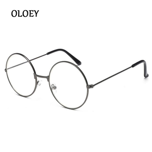 Fashion Vintage Clear Lens Glasses Women Nerd Geek Eyewear Retro Metal Frame Eyeglasses Black Oversized Round Circle Eye Glasses