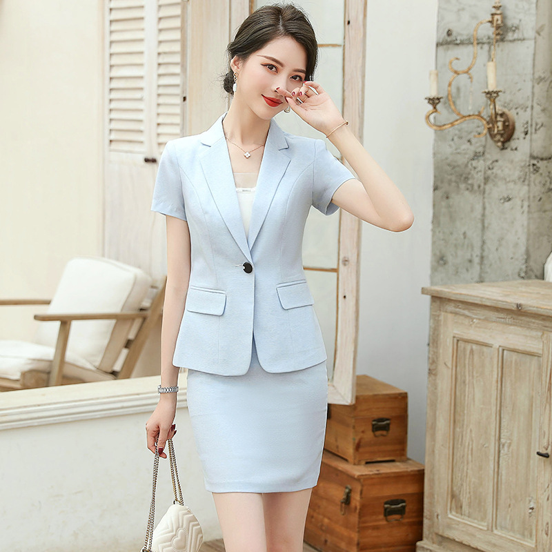 Casual Women's Skirt Suit Feminine Interview Clothing Summer 2020 Hotel Front Desk Overalls Office Slim Skirt Two-piece