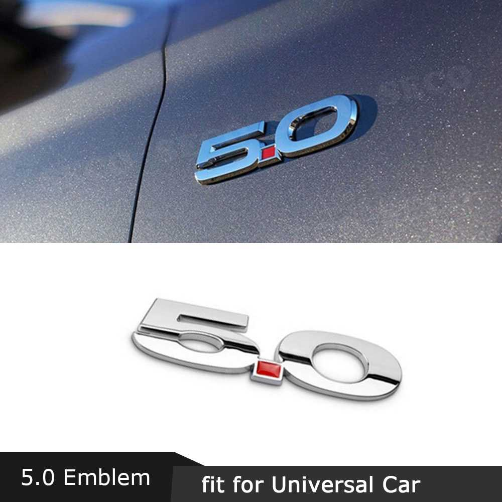 3D 5.0 Embleem Ontlading Label Zijdig Badge Decoratie voor Ford Mustang Auto Side Fender Trunk Body Trim Zwart Verzilverd