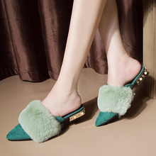 Elegant Fur Slides Women Fashion Fluffy Slippers Winter 2019 New claquette fourrure Slip On Womens Outdoor