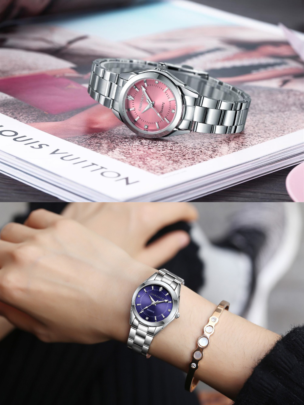 Analog Watches Bracelet Rhinestone-Watch Quartz Dial Business Stainless-Steel Silver