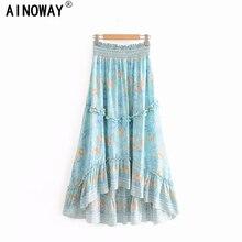בציר שיק קיץ אופנה נשים פרחוני טווס הדפסת החוף בוהמי חצאית גבוהה אלסטי מותניים מקסי אונליין Boho חצאית Femme