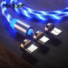 Светящийся светодиодный кабель для быстрой зарядки Магнитный кабель usb type C Магнитный кабель USB кабель микро-зарядного устройства провод для iPhone huawei samsung