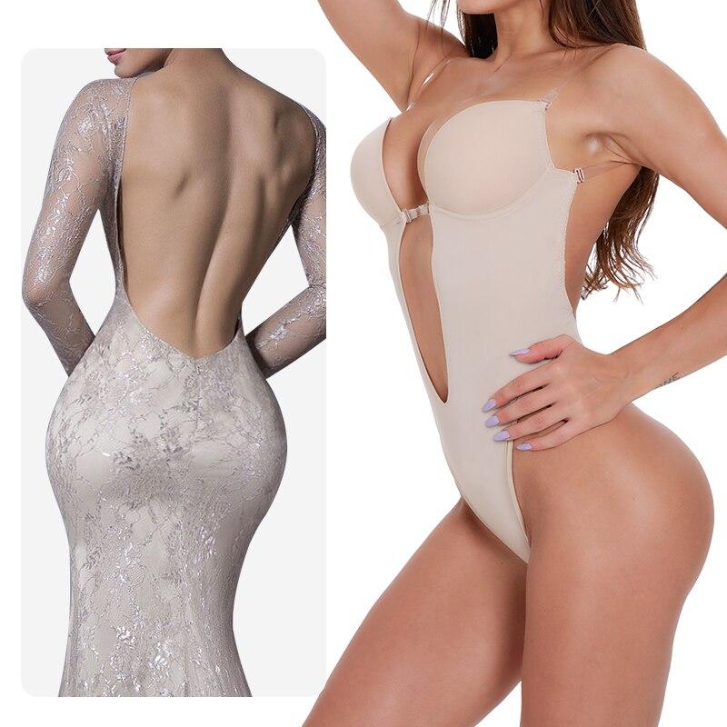 Waist Trainer Shaper Body Tummy Shaper Shapewear Faja Women Deep V Bodysuit Clear Strap Backless Plunge Thong Push Up Padded Bra
