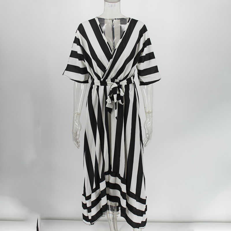Streep V-hals Vrouwen Kantoor Dame Elegante Jurk Halve Mouwen Fashion Met Riem Jurken Vrouwelijke 2020 Lente Casual Lady Vestido