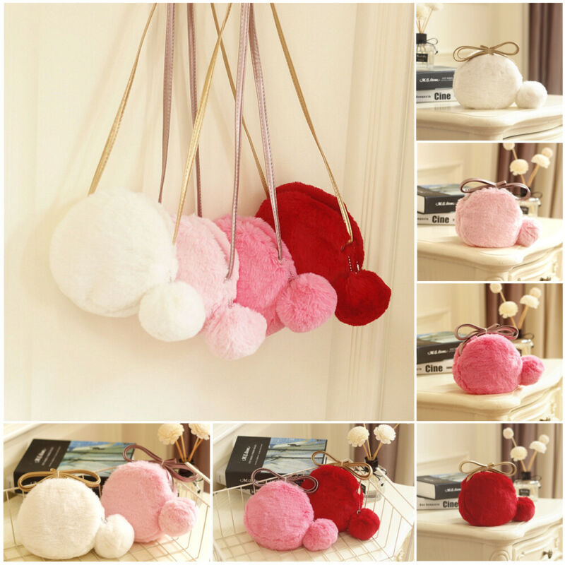 Women Girls Faux Fur Fashion Shoulder Bag Soft And Comfortable Leather Bag Suede Round Bag Autumn And Winter Warm Mini Tote Cute