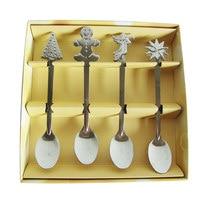 4 PCS Mini Christmas Stainless Steel Coffee Tea Kids Spoon Teaspoon Tableware HY99